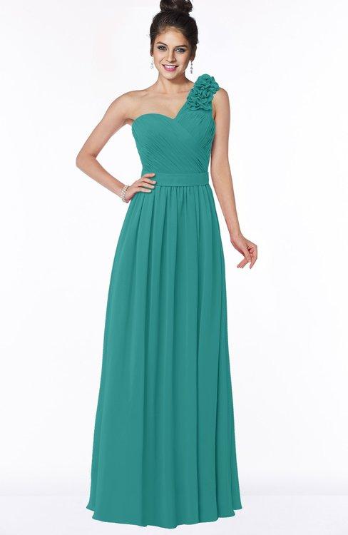 ColsBM Elisa Emerald Green Simple A-line One Shoulder Half Backless Chiffon Flower Bridesmaid Dresses