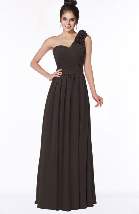 ColsBM Elisa Fudge Brown Simple A-line One Shoulder Half Backless Chiffon Flower Bridesmaid Dresses
