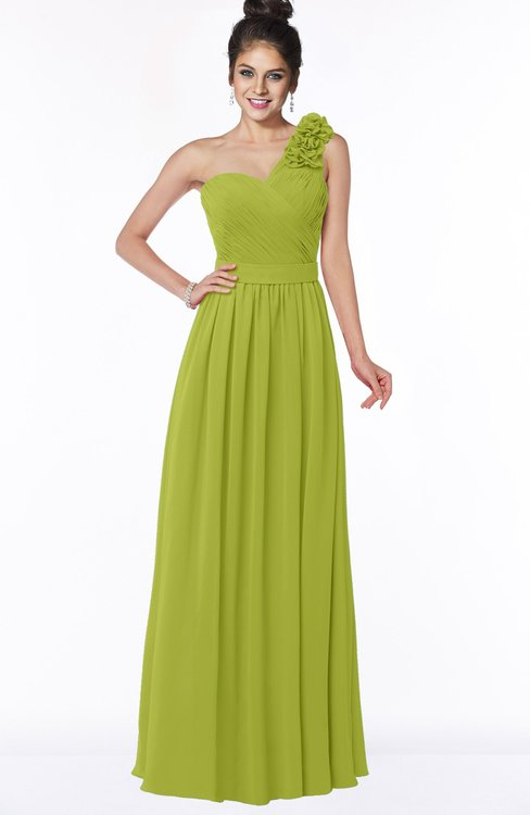 ColsBM Elisa Green Oasis Simple A-line One Shoulder Half Backless Chiffon Flower Bridesmaid Dresses