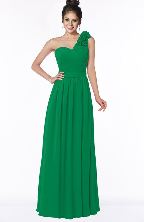ColsBM Elisa Green Simple A-line One Shoulder Half Backless Chiffon Flower Bridesmaid Dresses