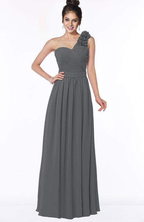 ColsBM Elisa Grey Simple A-line One Shoulder Half Backless Chiffon Flower Bridesmaid Dresses