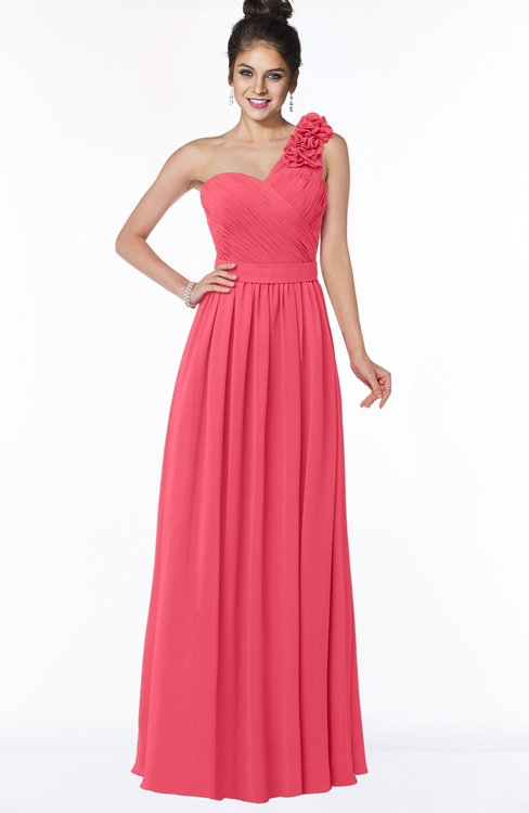 ColsBM Elisa Guava Simple A-line One Shoulder Half Backless Chiffon Flower Bridesmaid Dresses