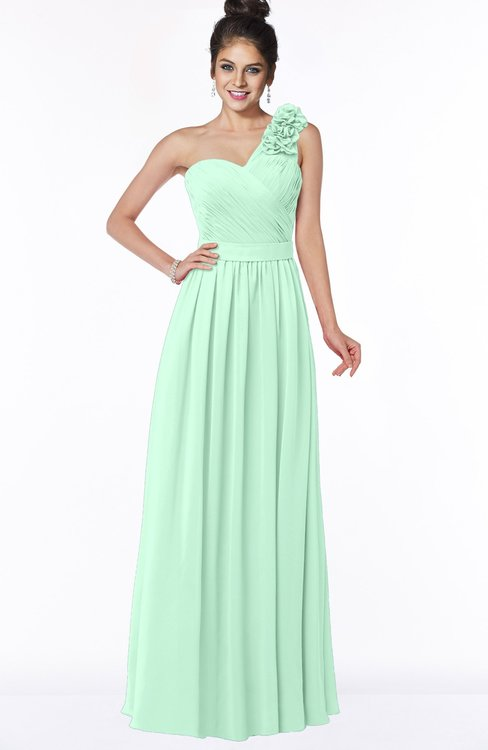 ColsBM Elisa Honeydew Simple A-line One Shoulder Half Backless Chiffon Flower Bridesmaid Dresses