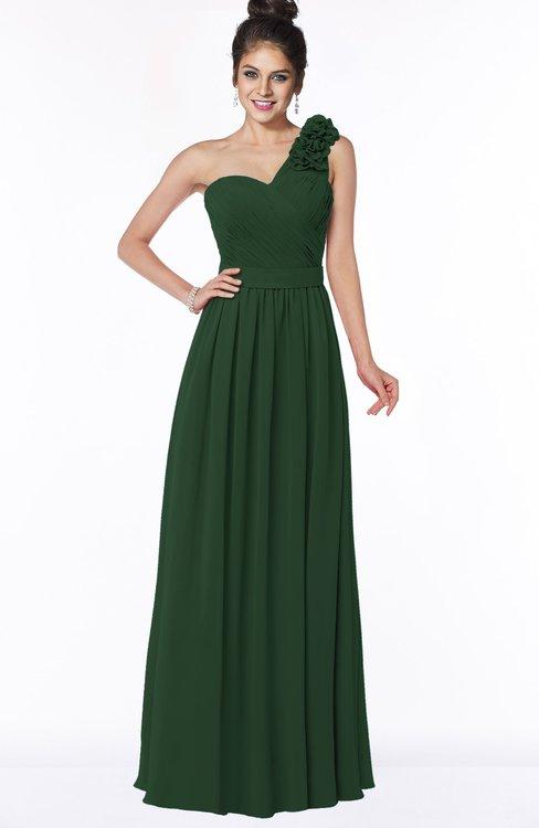 ColsBM Elisa Hunter Green Simple A-line One Shoulder Half Backless Chiffon Flower Bridesmaid Dresses