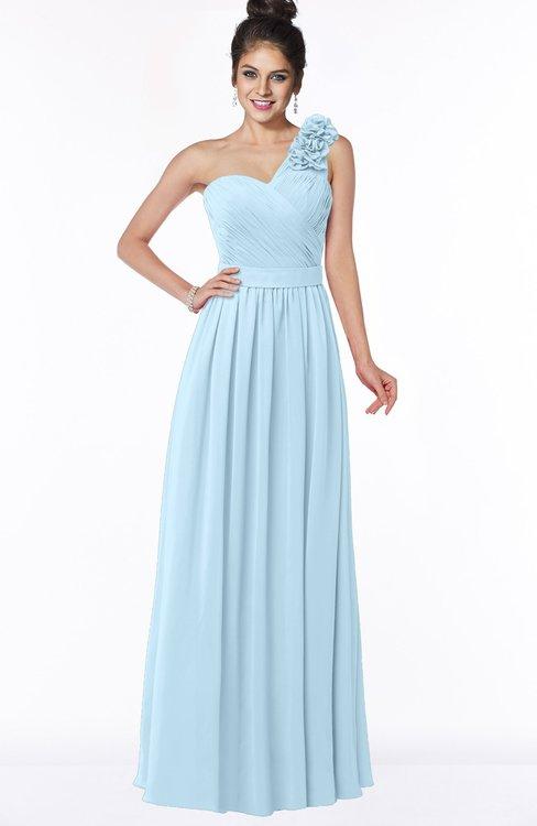 ColsBM Elisa Ice Blue Simple A-line One Shoulder Half Backless Chiffon Flower Bridesmaid Dresses