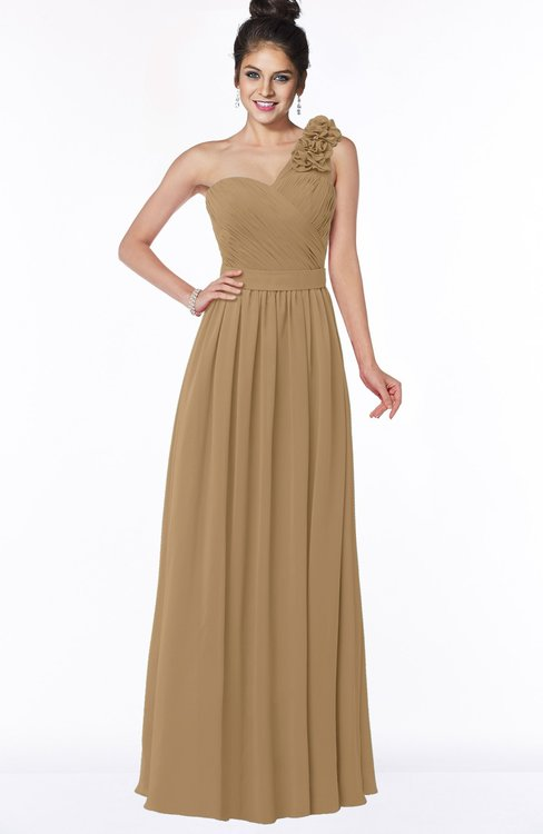 ColsBM Elisa Indian Tan Simple A-line One Shoulder Half Backless Chiffon Flower Bridesmaid Dresses