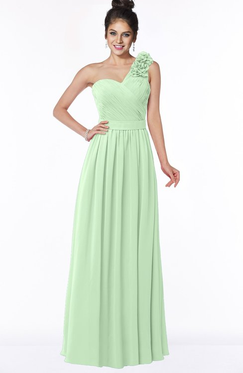 ColsBM Elisa Light Green Simple A-line One Shoulder Half Backless Chiffon Flower Bridesmaid Dresses