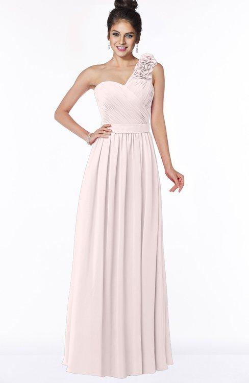ColsBM Elisa Light Pink Simple A-line One Shoulder Half Backless Chiffon Flower Bridesmaid Dresses