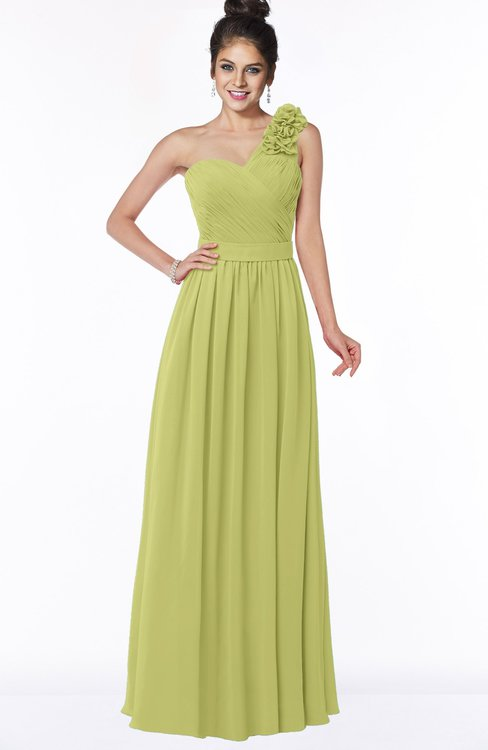 ColsBM Elisa Linden Green Simple A-line One Shoulder Half Backless Chiffon Flower Bridesmaid Dresses