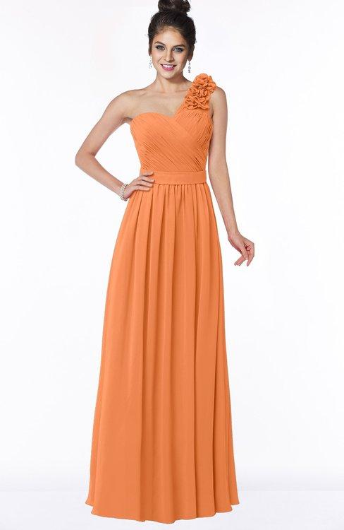 ColsBM Elisa Mango Simple A-line One Shoulder Half Backless Chiffon Flower Bridesmaid Dresses