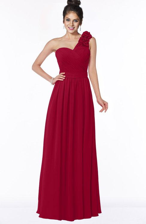 ColsBM Elisa Maroon Simple A-line One Shoulder Half Backless Chiffon Flower Bridesmaid Dresses