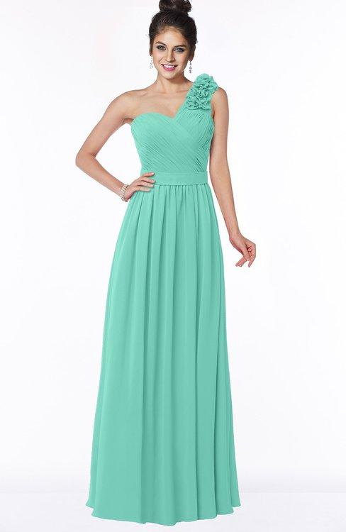 ColsBM Elisa Mint Green Simple A-line One Shoulder Half Backless Chiffon Flower Bridesmaid Dresses