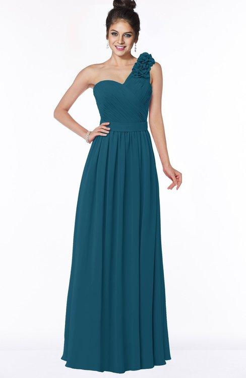 ColsBM Elisa Moroccan Blue Simple A-line One Shoulder Half Backless Chiffon Flower Bridesmaid Dresses