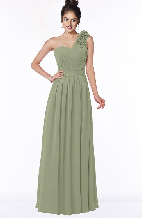 ColsBM Elisa Moss Green Simple A-line One Shoulder Half Backless Chiffon Flower Bridesmaid Dresses