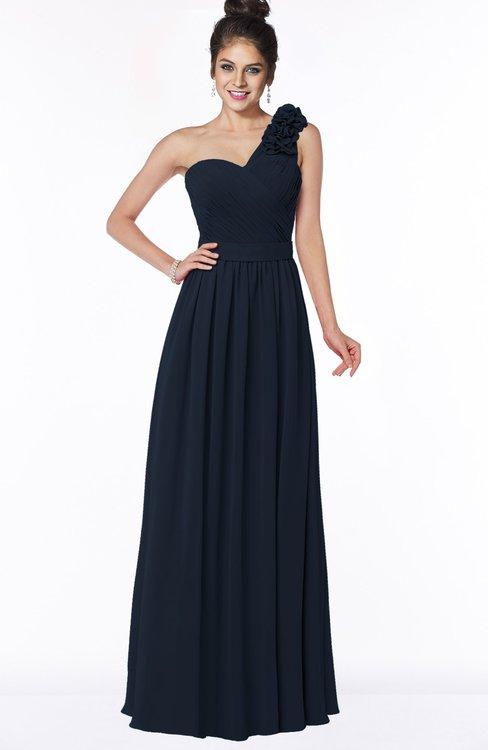 ColsBM Elisa Navy Blue Simple A-line One Shoulder Half Backless Chiffon Flower Bridesmaid Dresses