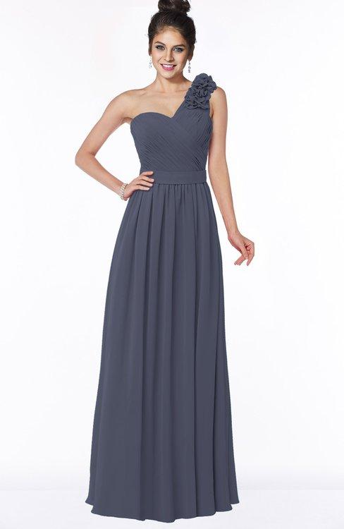 ColsBM Elisa Nightshadow Blue Simple A-line One Shoulder Half Backless Chiffon Flower Bridesmaid Dresses