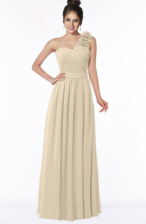 ColsBM Elisa Novelle Peach Simple A-line One Shoulder Half Backless Chiffon Flower Bridesmaid Dresses