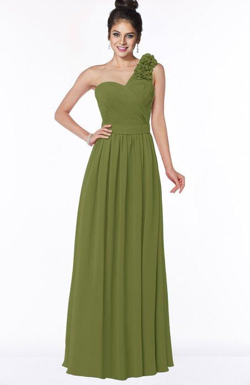 ColsBM Elisa Olive Green Simple A-line One Shoulder Half Backless Chiffon Flower Bridesmaid Dresses