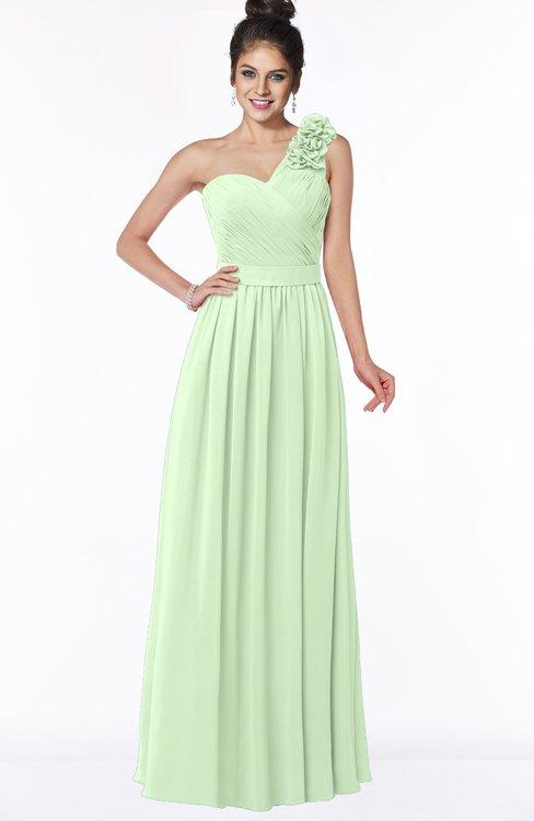 ColsBM Elisa Pale Green Simple A-line One Shoulder Half Backless Chiffon Flower Bridesmaid Dresses