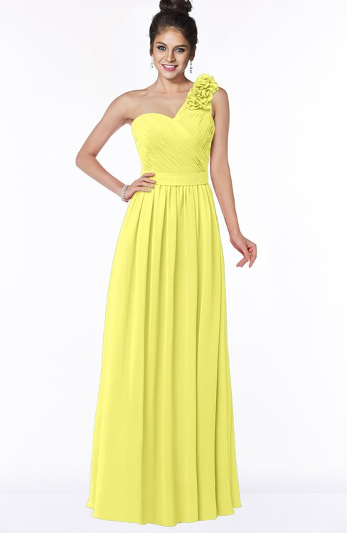 ColsBM Elisa Pale Yellow Simple A-line One Shoulder Half Backless Chiffon Flower Bridesmaid Dresses