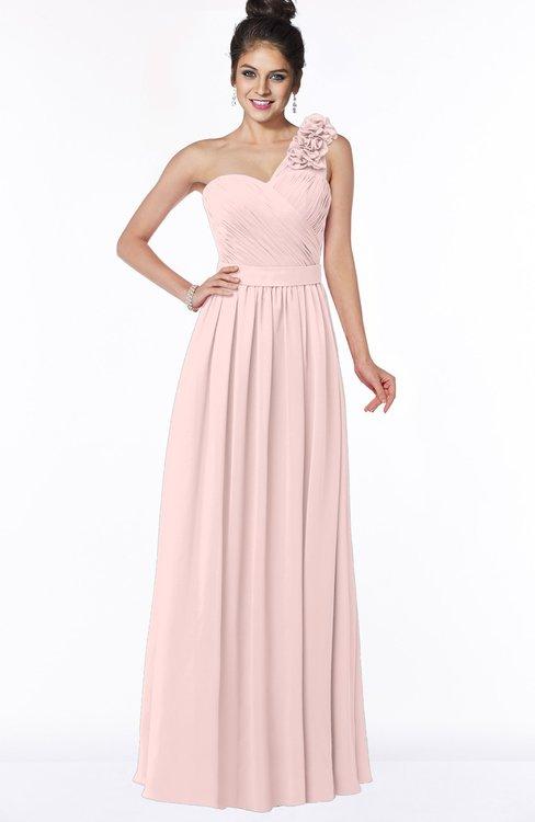 ColsBM Elisa Pastel Pink Simple A-line One Shoulder Half Backless Chiffon Flower Bridesmaid Dresses