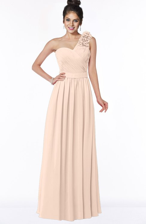 ColsBM Elisa Peach Puree Simple A-line One Shoulder Half Backless Chiffon Flower Bridesmaid Dresses