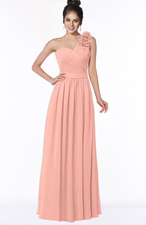 ColsBM Elisa Peach Simple A-line One Shoulder Half Backless Chiffon Flower Bridesmaid Dresses