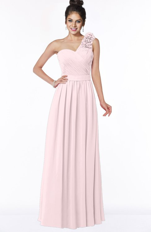 ColsBM Elisa Petal Pink Simple A-line One Shoulder Half Backless Chiffon Flower Bridesmaid Dresses
