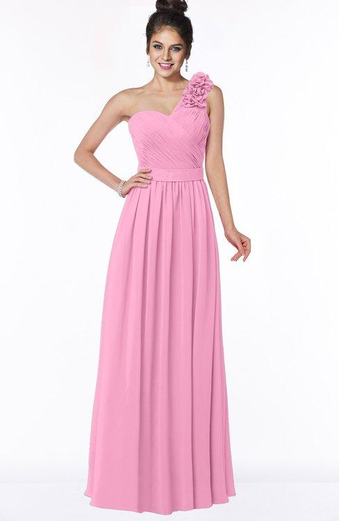 ColsBM Elisa Pink Simple A-line One Shoulder Half Backless Chiffon Flower Bridesmaid Dresses