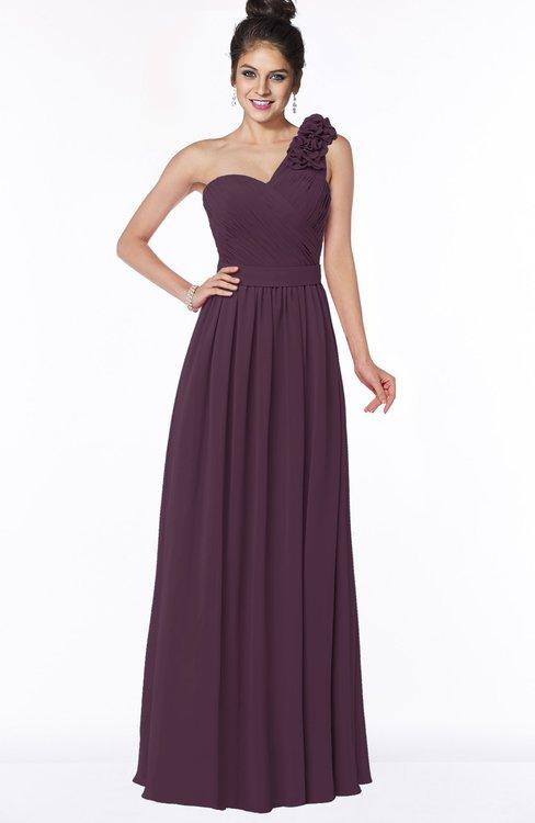 ColsBM Elisa Plum Simple A-line One Shoulder Half Backless Chiffon Flower Bridesmaid Dresses