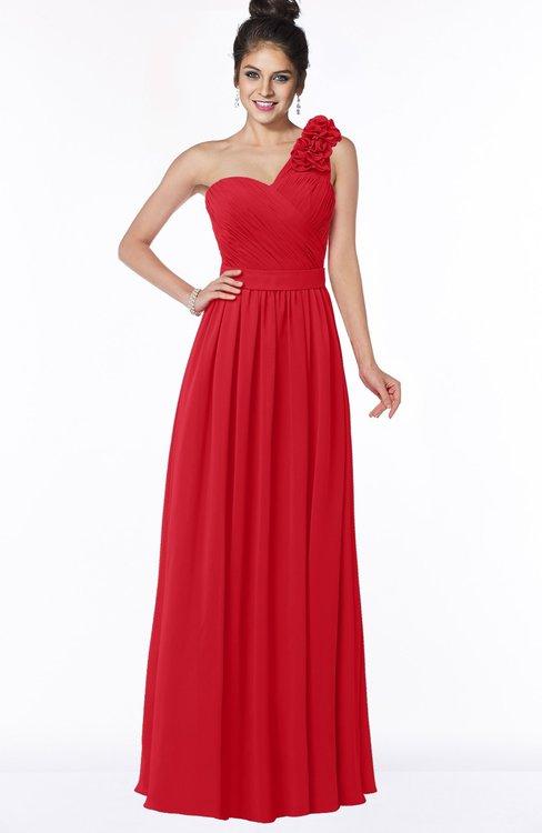 ColsBM Elisa Red Simple A-line One Shoulder Half Backless Chiffon Flower Bridesmaid Dresses