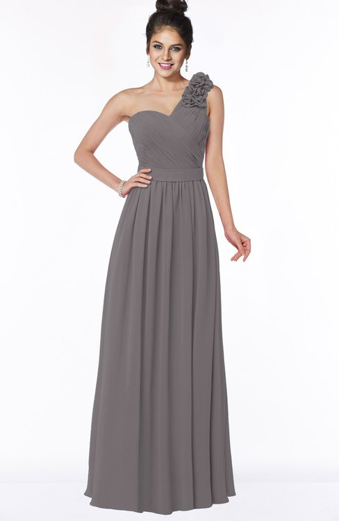 ColsBM Elisa Ridge Grey Simple A-line One Shoulder Half Backless Chiffon Flower Bridesmaid Dresses