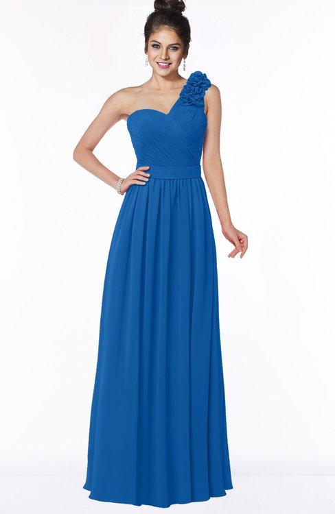 ColsBM Elisa Royal Blue Simple A-line One Shoulder Half Backless Chiffon Flower Bridesmaid Dresses