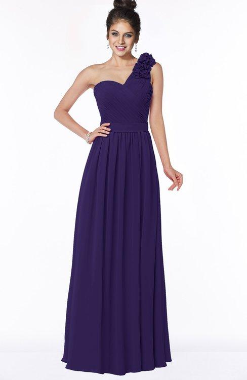 ColsBM Elisa Royal Purple Simple A-line One Shoulder Half Backless Chiffon Flower Bridesmaid Dresses