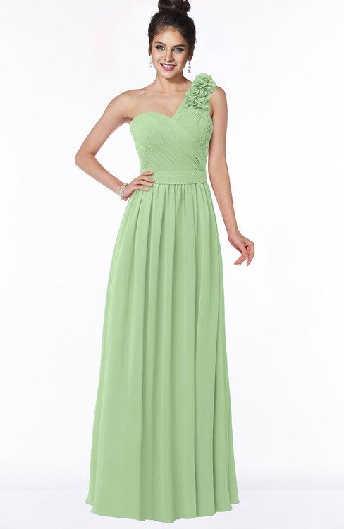 ColsBM Elisa Sage Green Simple A-line One Shoulder Half Backless Chiffon Flower Bridesmaid Dresses