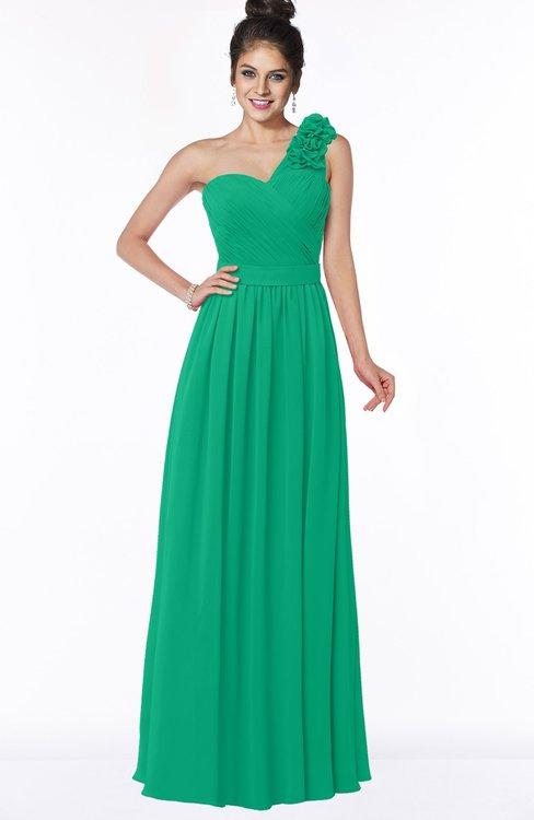 ColsBM Elisa Sea Green Simple A-line One Shoulder Half Backless Chiffon Flower Bridesmaid Dresses