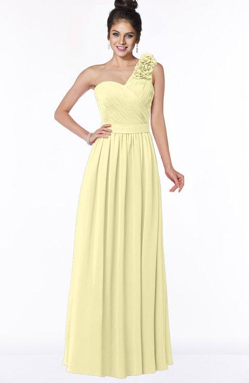 ColsBM Elisa Soft Yellow Simple A-line One Shoulder Half Backless Chiffon Flower Bridesmaid Dresses