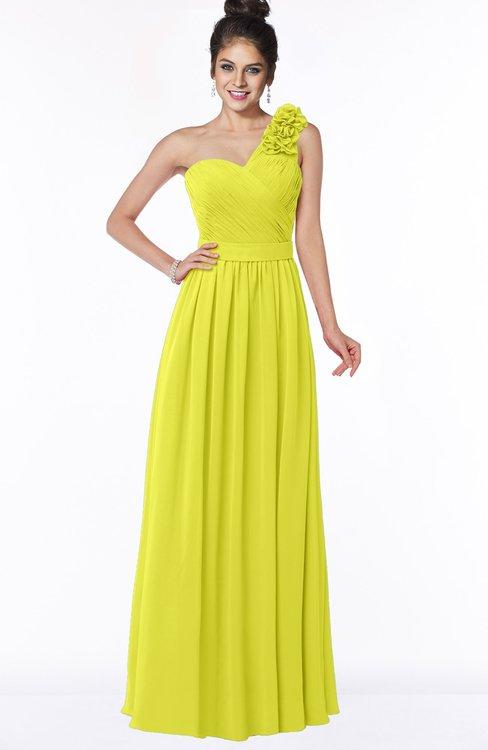 ColsBM Elisa Sulphur Spring Simple A-line One Shoulder Half Backless Chiffon Flower Bridesmaid Dresses
