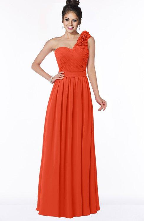 ColsBM Elisa Tangerine Tango Simple A-line One Shoulder Half Backless Chiffon Flower Bridesmaid Dresses