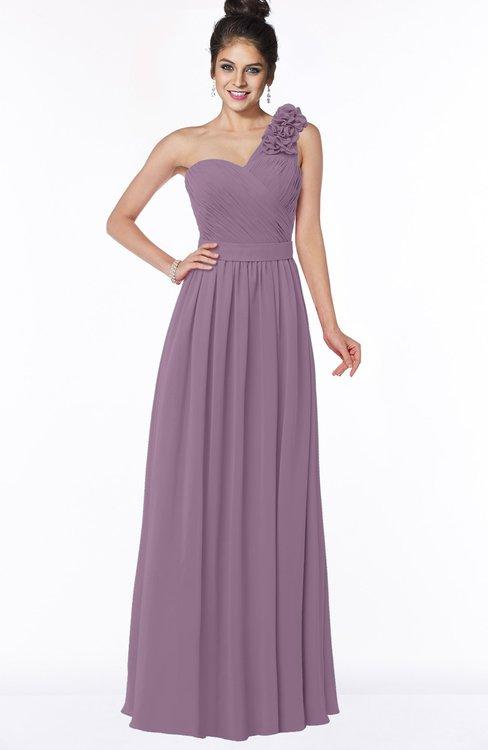 ColsBM Elisa Valerian Simple A-line One Shoulder Half Backless Chiffon Flower Bridesmaid Dresses