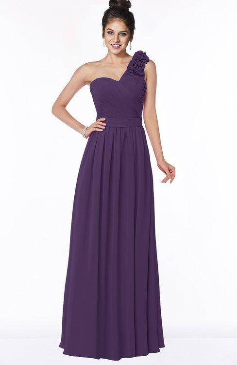 ColsBM Elisa Violet Simple A-line One Shoulder Half Backless Chiffon Flower Bridesmaid Dresses