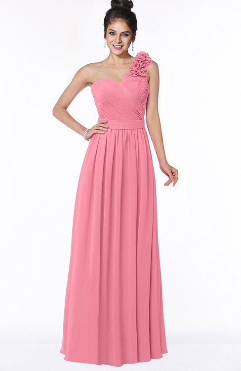 ColsBM Elisa Watermelon Simple A-line One Shoulder Half Backless Chiffon Flower Bridesmaid Dresses