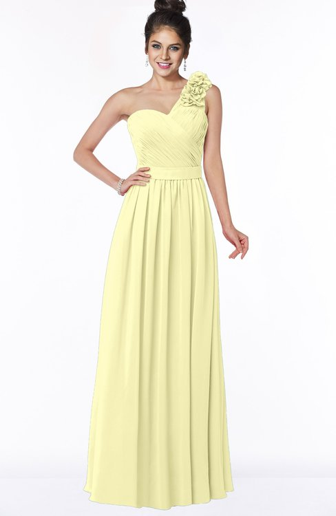 ColsBM Elisa Wax Yellow Simple A-line One Shoulder Half Backless Chiffon Flower Bridesmaid Dresses