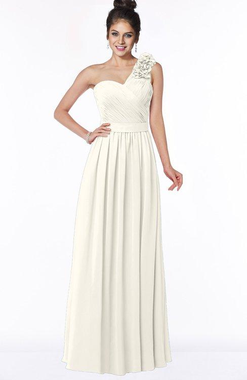 ColsBM Elisa Whisper White Simple A-line One Shoulder Half Backless Chiffon Flower Bridesmaid Dresses