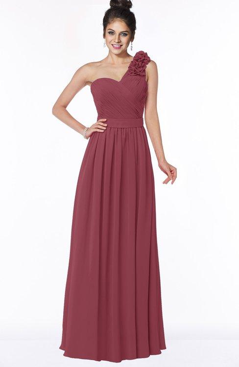 ColsBM Elisa Wine Simple A-line One Shoulder Half Backless Chiffon Flower Bridesmaid Dresses
