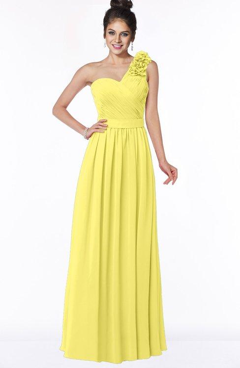 ColsBM Elisa Yellow Iris Simple A-line One Shoulder Half Backless Chiffon Flower Bridesmaid Dresses