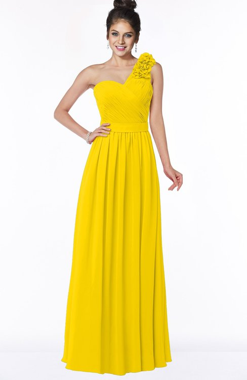 ColsBM Elisa Yellow Simple A-line One Shoulder Half Backless Chiffon Flower Bridesmaid Dresses