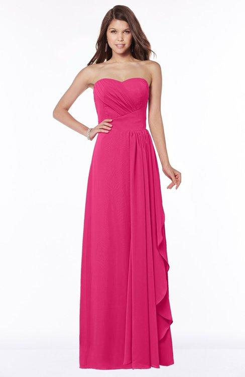 ColsBM Lana Fuschia Gorgeous Sleeveless Chiffon Floor Length Ruching Bridesmaid Dresses