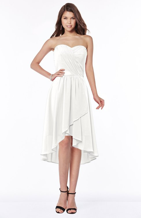 ColsBM Amaya Cloud White Mature A-line Strapless Chiffon Knee Length Ruching Bridesmaid Dresses