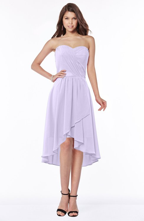 ColsBM Amaya Pastel Lilac Mature A-line Strapless Chiffon Knee Length Ruching Bridesmaid Dresses